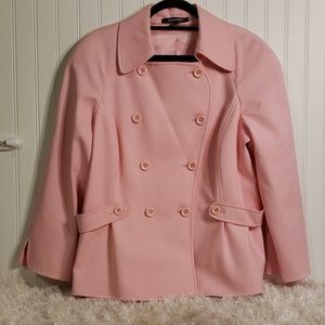 Ellen Tracy Pink Double Breasted Lined Jacket